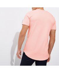 River Island Pink Longline Crew Neck T-shirt for men