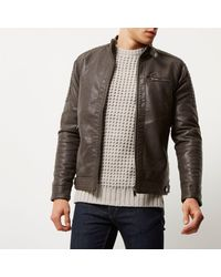 River Island - Brown Racer Neck Faux Leather Jacket for Men - Lyst