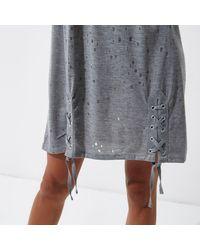 River Island - Gray Grey Eyelet Lace-up Hem Oversized T-shirt - Lyst