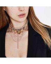 River Island - Metallic Rose Gold Tone Jewel Drape Statement Necklace Rose Gold Tone Jewel Drape Statement Necklace - Lyst
