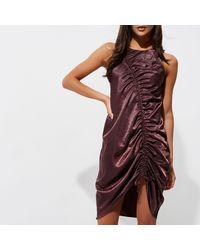 River Island - Dark Purple Ruched Front Sleeveless Dress - Lyst
