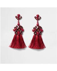 River Island - Dark Red Jewel Tassel Drop Earrings Dark Red Jewel Tassel Drop Earrings - Lyst