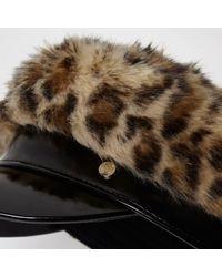 River Island - Brown Leopard Print Faux Fur Baker Boy Hat Brown Leopard Print Faux Fur Baker Boy Hat - Lyst