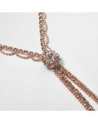 River Island - Pink Rose Gold Tone Cup Chain Diamante Y Necklace Rose Gold Tone Cup Chain Diamante Y Necklace - Lyst