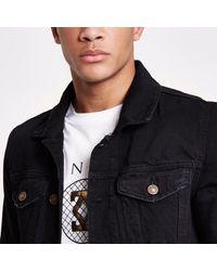 River Island - Black Washed Borg Lined Denim Jacket for Men - Lyst