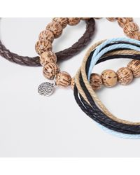 River Island - Brown Bead And Lattice Bracelet Pack for Men - Lyst