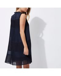 River Island - Blue Navy Sleeveless Pleated Swing Dress - Lyst