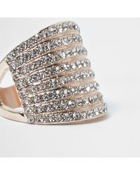 River Island - Metallic Rose Gold Tone Stacked Chunky Diamante Ring - Lyst