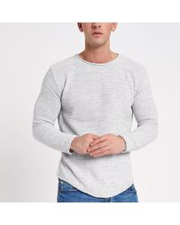 aa6c8c17fab River Island Textured Knit Rolled Slim Fit Jumper in Gray for Men - Lyst