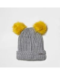 River Island | Gray Light Grey Knit Pom Pom Ear Beanie Hat | Lyst