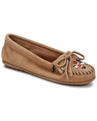 Minnetonka | Brown Thunderbird Ii Women Moc Toe Leather Moccasins | Lyst