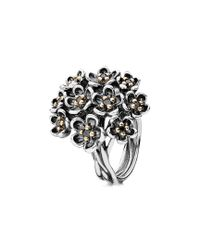 Pandora - Black Forever Bloom 14k Two-tone Spinel Ring - Lyst