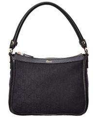 Gucci - Black Gg Supreme Canvas & Leather Shoulder Bag - Lyst