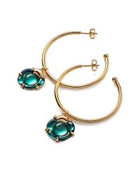 Baccarat - Metallic B Flower Gold Over Silver Gemstone Hoops - Lyst
