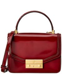 fd78799d3d82 Lyst - Tory Burch Juliette Mini Leather Top Handle Satchel in Red