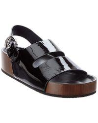 Céline Black Céline Boxy Double Band Slingback Patent Sandal