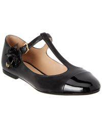 Tory Burch - Black Blossom Leather T-strap Flat - Lyst