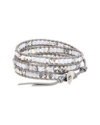 Chan Luu - Metallic Silver & Leather Agate & Crystal Wrap Bracelet - Lyst