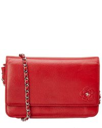 7b9878df874208 Chanel Red Caviar Leather Camellia Wallet On Chain in Red - Lyst