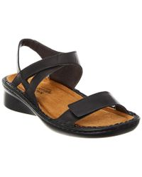 Naot - Black Harp Leather Sandal - Lyst