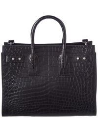 Saint Laurent - Black Sac De Jour Croc-embossed Leather Tote - Lyst