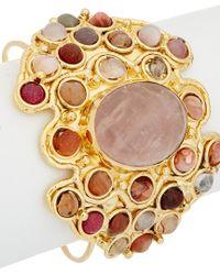 Devon Leigh - Multicolor 18k Plated Gemstone Bangle - Lyst