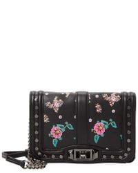 Rebecca Minkoff - Black Studded Floral Leather Crossbody - Lyst