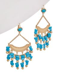Kenneth Jay Lane - Blue Plated Drop Earrings - Lyst