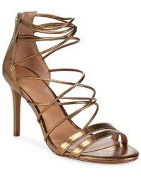Halston Heritage - Metallic Strappy Leather Sandals - Lyst