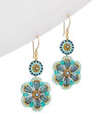 Miguel Ases - Multicolor 18k Plated Crystal Flower Earrings - Lyst