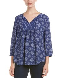 NYDJ - Blue Peasant Blouse - Lyst