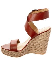 Stuart Weitzman - Brown Crossover Leather Wedge Sandal - Lyst