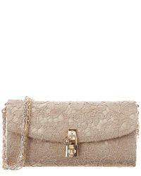 Dolce & Gabbana   Natural Lace Pouchette Chain Clutch   Lyst