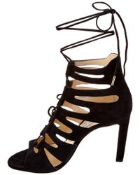 Jimmy Choo | Black Hitch 100 Suede Strappy Heeled Sandal | Lyst