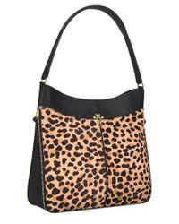 Tory Burch - Black Ivy Leopard Leather Hobo - Lyst