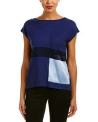Lafayette 148 New York - Blue Bateau Neck Silk-trim Sweater - Lyst