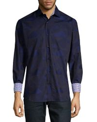 Bertigo - Blue Triangles Print Long Sleeve Shirt for Men - Lyst