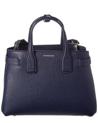 Burberry - Blue Small Banner Vintage Check & Leather Tote - Lyst