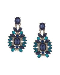 Sparkling Sage - Blue Silver Plated Resin Drop Earrings - Lyst