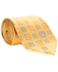 Versace - Yellow & Blue Silk Tie for Men - Lyst