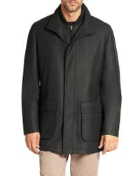Saks Fifth Avenue - Black Wool Overcoat for Men - Lyst
