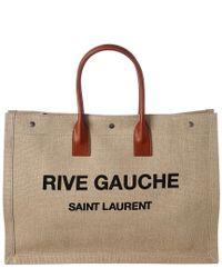 2f179ace0d Lyst - Saint Laurent Rive Gauche Canvas Tote in Natural