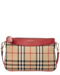 6c07856051fc Burberry Peyton Horseferry Check   Leather Clutch Bag - Lyst