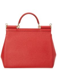 Dolce & Gabbana | Red Sicily Large Dauphine Leather Satchel | Lyst
