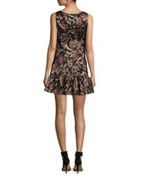 Anna Sui - Black Lame Flounce Hem Mini Dress - Lyst