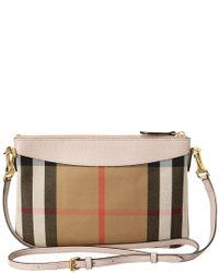Burberry Pink Peyton House Check & Leather Clutch Bag