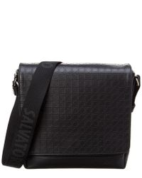 Lyst - Ferragamo Gancio Embossed Leather Messenger Bag in Black for Men c01365ea1a8cc