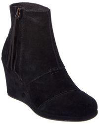 TOMS - Black Women's Desert Suede Wedge High Boot - Lyst