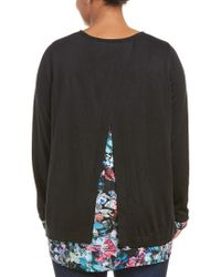 NYDJ - Black Plus Key Item Mix Media Sweater - Lyst