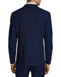 Canali - Blue Solid Wool Jacket for Men - Lyst
